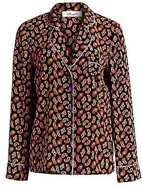 Diane von Furstenberg Women's Halsey Paisley PJ-Style Silk Shirt