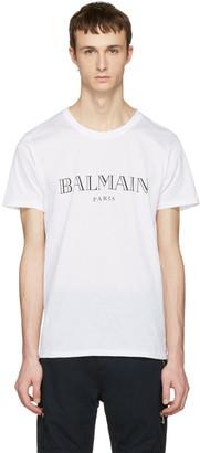Balmain White Logo T-Shirt $275 thestylecure.com