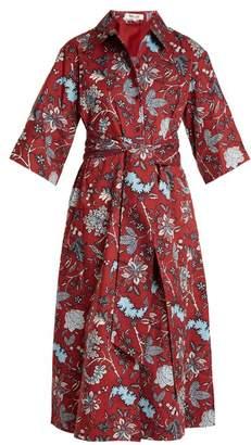 Diane von Furstenberg Canton Print Stretch Cotton Dress - Womens - Burgundy Print
