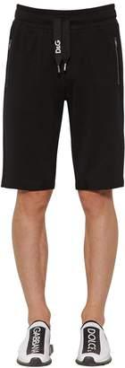 Dolce & Gabbana Logo Embroidered Cotton Jersey Shorts