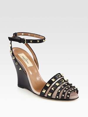 Rock Mance Studded Leather Wedge Sandals