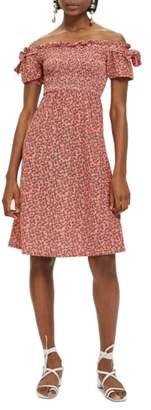 Topshop Smocked Ditzy Print Midi Dress