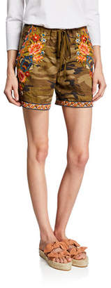 Johnny Was Sentrie Camo-Print Drawstring Linen Shorts w/ Embroidery