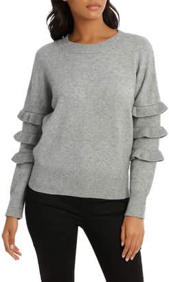 Ruffle Sleeve Crew Neck Sweater