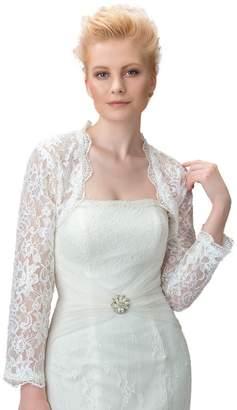 Sisjuly Women's Long Sleeves Lace Wedding Bridal Bolero Jacket