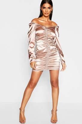 boohoo Satin Bardot Ruched Mini Dress
