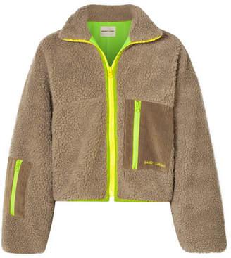 Sandy Liang - Corduroy And Shell-trimmed Fleece Jacket - Mushroom