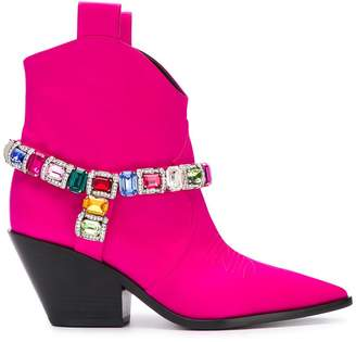 Casadei Daytime crystal strap cowbow boots