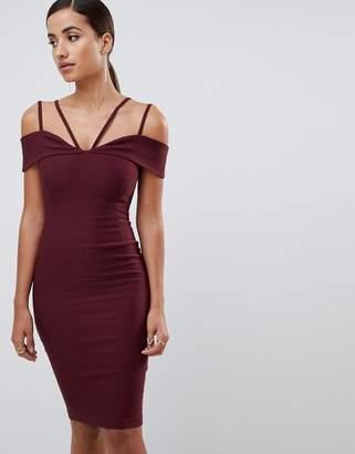 Vesper strappy detail midi dress in oxblood
