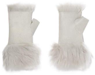 Karl Donoghue Reversible Shearling Fingerless Gloves - Light gray