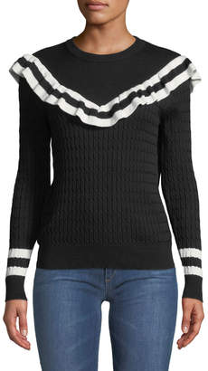 Few Moda Monochrome Stripe-Trim Ruffled Pullover Sweater