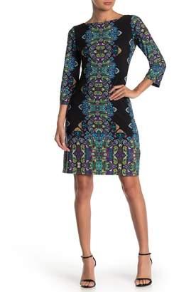 London Times Patterned 3/4 Length Sleeve Shift Dress