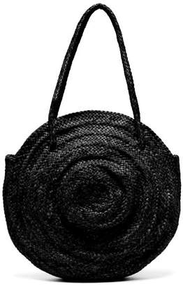 Dragon Optical Diffusion - Round Woven Leather Basket Bag - Womens - Black