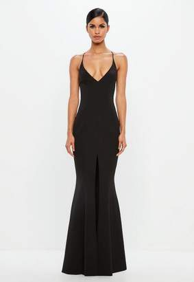 Missguided Black Slip Fishtail Maxi Dress