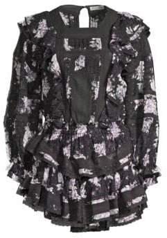 LoveShackFancy Minetta Silk Ruffled Floral Dress