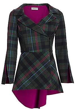 Chiara Boni Women's Vania Tartan High-Low Jacket
