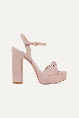 Stuart Weitzman Mirri Knotted Suede Platform Sandals - Blush