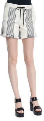 Derek Lam Striped Canvas Drawstring Shorts, Black/Natural