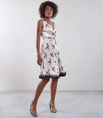Reiss Peyton Bird Printed Knife Pleat Midi Dress