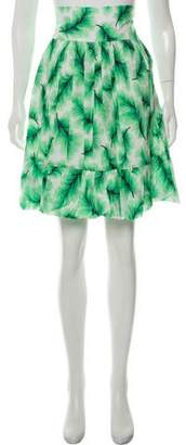 Nicole Miller Leaf-Print Knee-Length Skirt