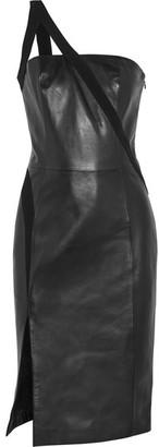 Mugler - One-shoulder Crepe-trimmed Leather Dress - Black $2,205 thestylecure.com