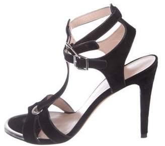 Stuart Weitzman Suede T-Strap Sandals