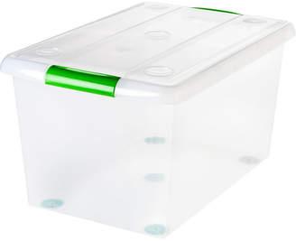 Iris Usa Iris 61 Quart Store and Slide Storage Box- Green Handle, 6 Pack