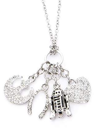 Star Wars Jewelry Women's R2-D2 Multi Charm Stainless Steel Pendant Necklace