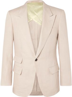 Kingsman Beige Slim-Fit Linen Suit Jacket