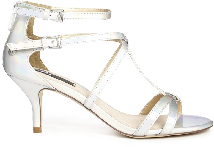 Blink Strappy Mid Heel Sandals - Silver
