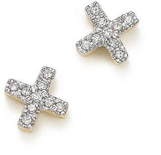Adina 14K Yellow Gold Pavé Diamond Tiny X Stud Earrings
