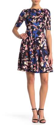 London Times Printed Fit & Flare Dress (Petite)