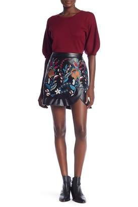 Laundry by Shelli Segal Faux Leather Embroidered Skirt