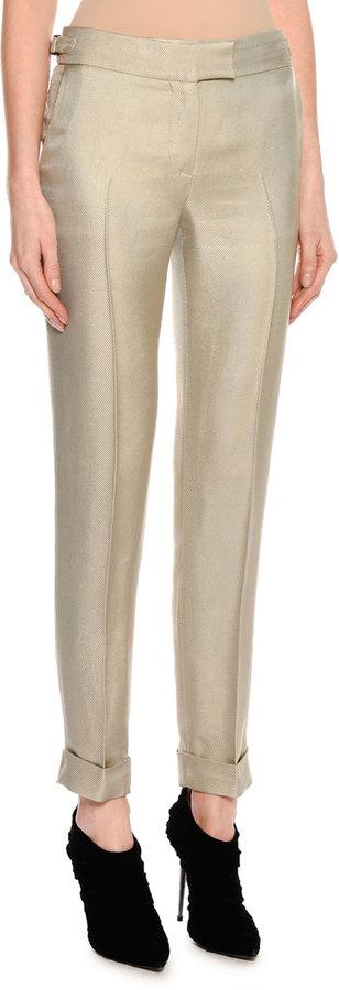 Tom FordTom Ford Shiny Viscose Cropped Pants, Gray