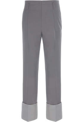 Lanvin Contrast Cuff Straight Tailored Trousers