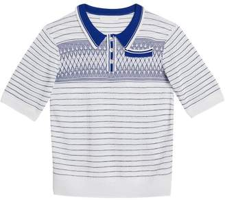 Burberry TEEN Stripe and Diamond Stitch Knitted Polo Shirt