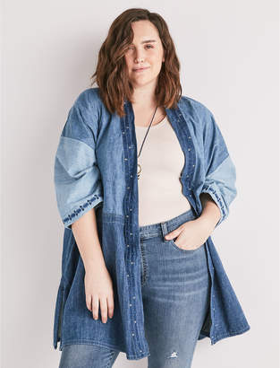 Lucky Brand PANELLED KIMONO WITH EMBROIDERY