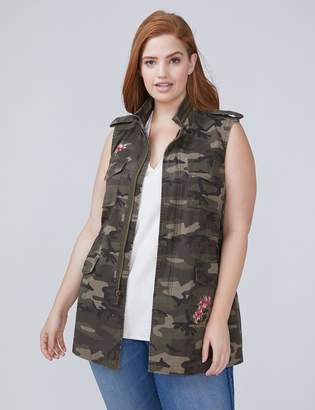 Floral Embroidered Camo Vest