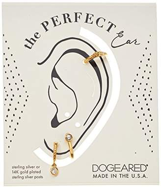 Dogeared The Perfect Ear Pack Of 3 Single Earring Set- Stud/Double Loop/Smooth Cuff