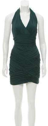 Halston Ruched Halter Dress