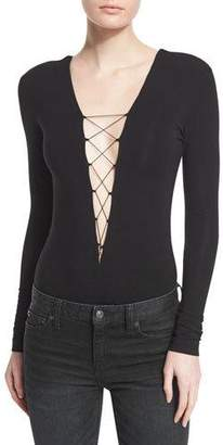 Alexander Wang Long-Sleeve Lace-Up Jersey Bodysuit, Wine