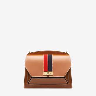 Bally Suzy Medium Brown, Women's plain calf leather shoulder bag in tan