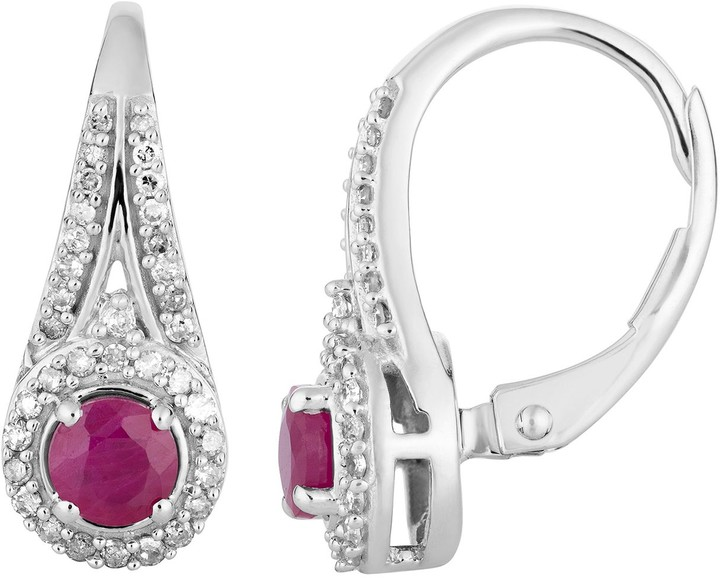 10k White Gold Ruby & 1/4 Carat T.W. Diamond Leverback Earrings