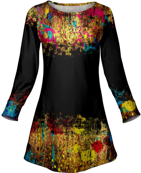 Black & Yellow Abstract Tunic - Women & Plus