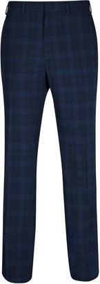 Burton Mens Big & Tall Navy Regular Fit Checked Trousers