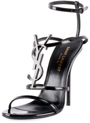 Saint Laurent Opyum Cassandra Monogram Patent Sandals