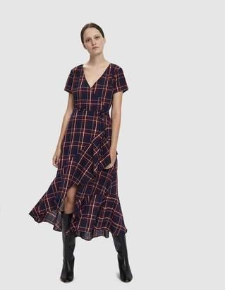 Stelen Maxine Plaid Tiered Wrap Dress in Burgundy
