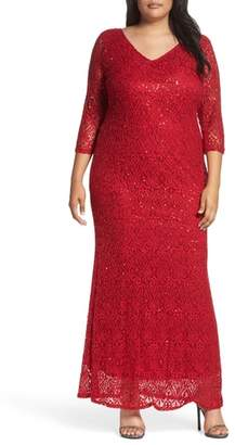 Marina Sequin Lace A-Line Gown