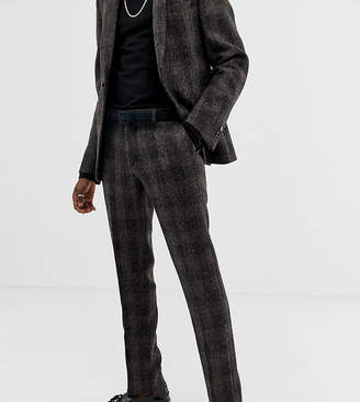 Heart & Dagger slim suit pant in brown harris tweed
