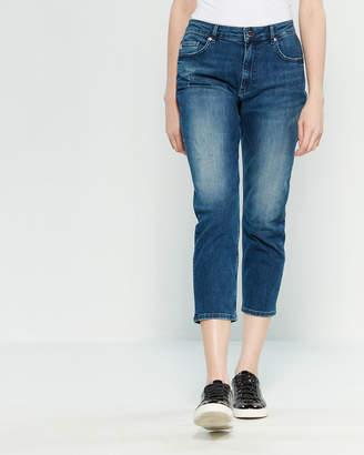 Love Moschino Rhinestone Heart Crop Jeans